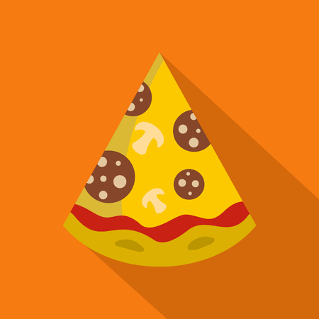Pizza slice icon. Flat illustration of pizza slice vector icon for web