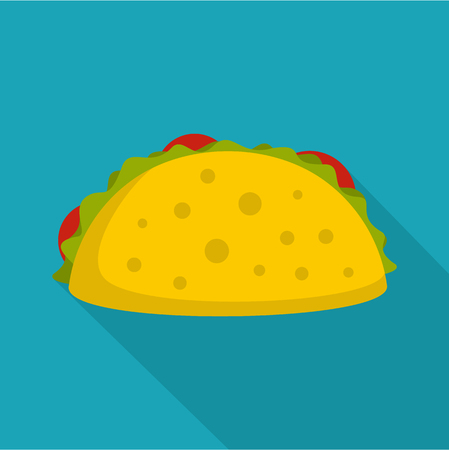 Tacos icon. Flat illustration of tacos vector icon for web