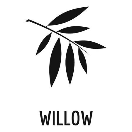 Willow leaf icon. Simple illustration of willow leaf icon for web. Illustration