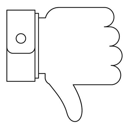 Thumb down icon. Outline illustration of thumb down icon for web. Illustration