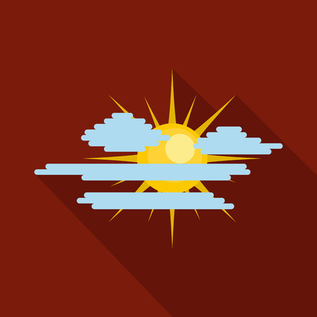 Cloudy sun icon. Flat illustration of cloudy sun vector icon for web