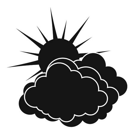 Blue cloudy sun icon. Simple illustration of blue cloudy sun vector icon for web Illustration