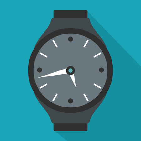 Wristwatch round icon. Flat illustration of wristwatch round vector icon for web