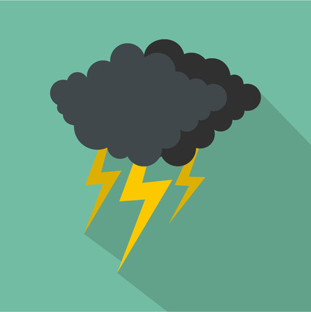 Cloud thunder flash icon. Flat illustration of cloud thunder flash vector icon for web
