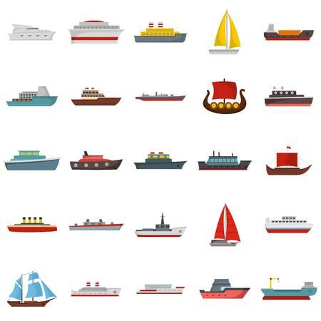 Conjunto de iconos de barco y embarcaciones. Ilustración plana de 25 iconos de vector de barco y barcos aislados sobre fondo blanco Foto de archivo - 91728673