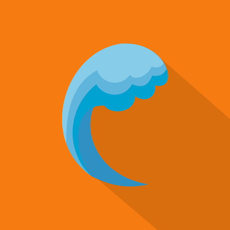 Wave water ocean icon. Flat illustration of wave water ocean vector icon for web
