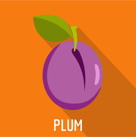 Plum icon. Flat illustration of plum vector icon for web