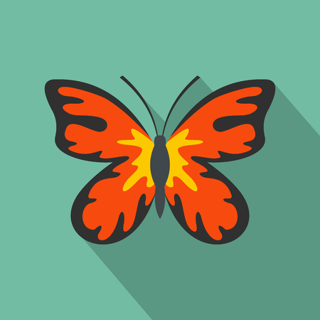 Summer butterfly icon. Flat illustration of summer butterfly vector icon for web
