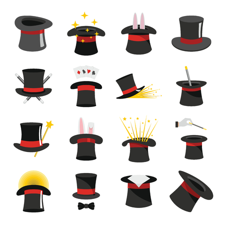 Goochelaar hoed tovenarij pictogrammen instellen. Vlakke afbeelding van 16 tovenaar hoed tovenarij vector iconen voor web Stock Illustratie