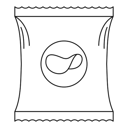 Potato chip icon. Outline illustration of potato chip vector icon for web. Çizim