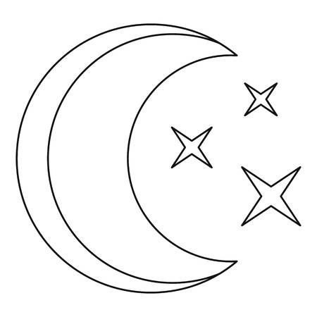 Moon icon. Outline illustration of moon vector icon for web. 일러스트