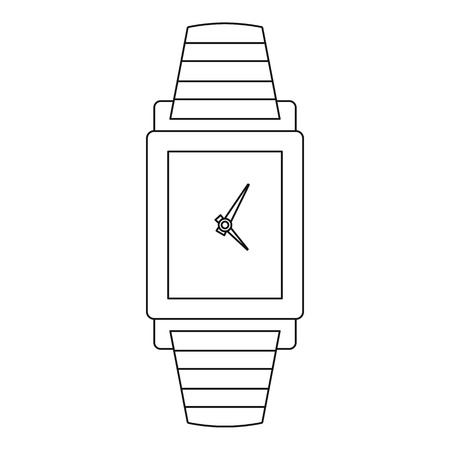 Woman watch icon. Outline illustration of woman watch vector icon for web. Çizim