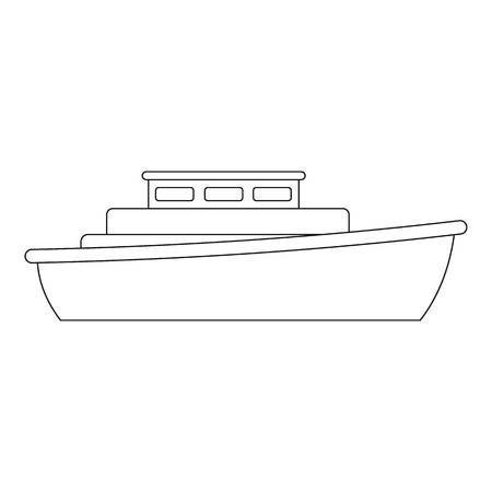 Motorboat icon. Outline illustration of motorboat vector icon for web.