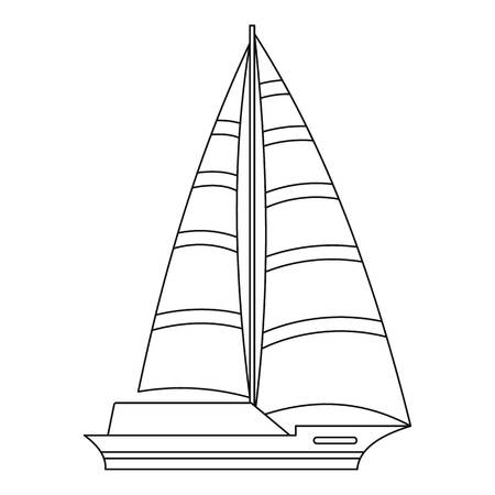 Yacht icon. Outline illustration of yacht vector icon for web.