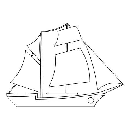 Sailing ship icon. Outline illustration of sailing ship vector icon for web. Vettoriali