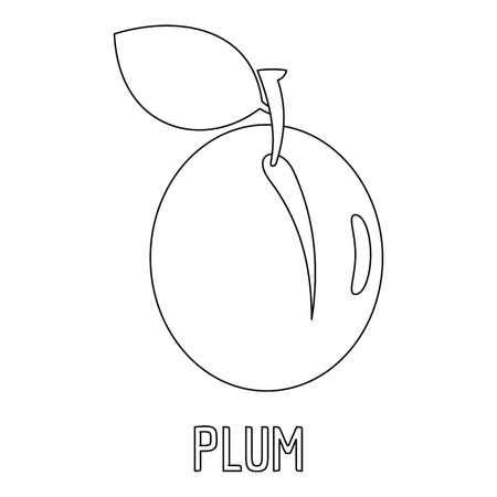 Plum icon. Outline illustration of plum vector icon for web