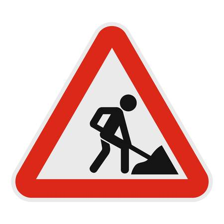 Work on the road icon. Flat illustration of work on the road vector icon for web. Illustration