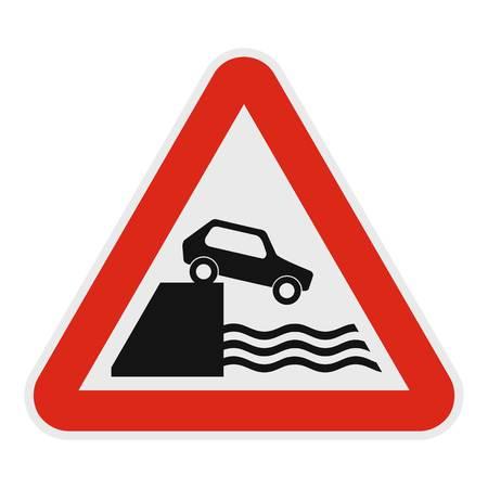 Coche en un precipicio sobre el icono de agua. Ejemplo plano del coche en un precipicio sobre el icono del watevector para el web. Foto de archivo - 92641228