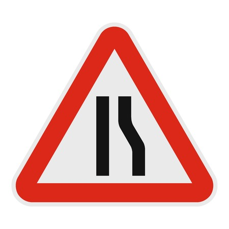 Narrowing right road icon. Flat illustration of narrowing right road vector icon for web. Illustration