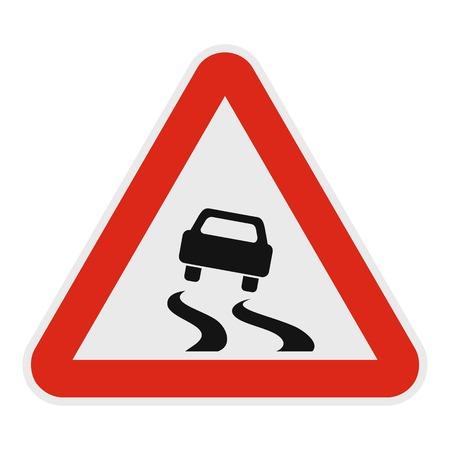 Car on dangerous roadside icon. Flat illustration of car on dangerous road vector icon for web. Illustration