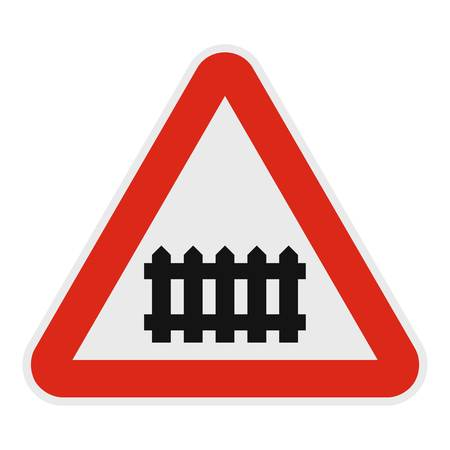 Railroad crossing with a barrier icon. Flat illustration of railroad crossing with a barrier vector icon for web.