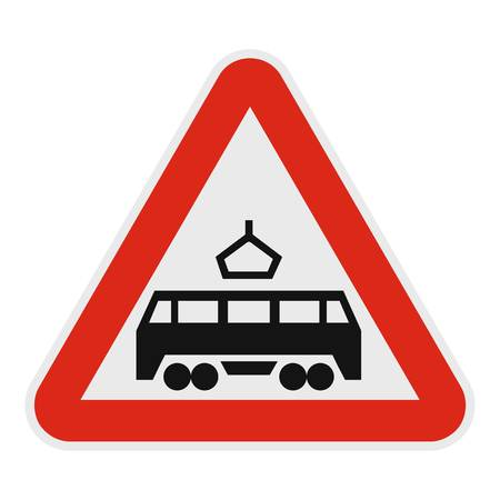 Railroad crossing icon. Flat illustration of railroad crossing vector icon for web.