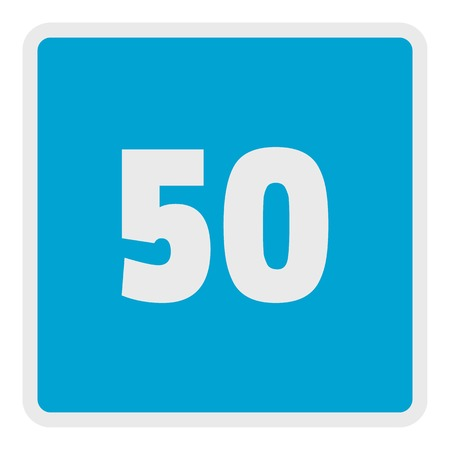 Minimum speed fifty limit icon. Flat illustration of minimum speed fifty limit vector icon for web. Illusztráció