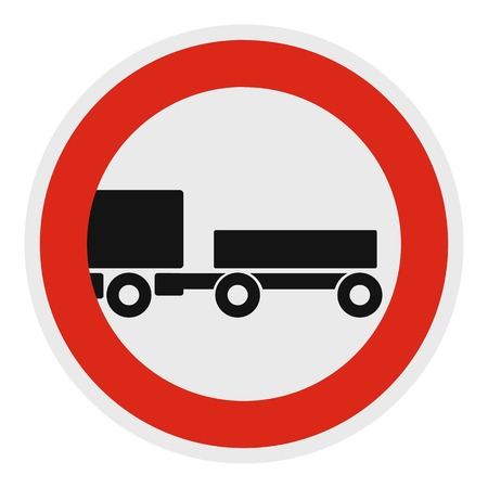Trailer is forbidden icon. Flat illustration of trailer is forbidden vector icon for web.