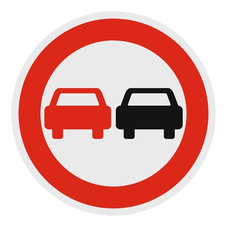 No overtaking icon. Flat illustration of no overtaking vector icon for web.
