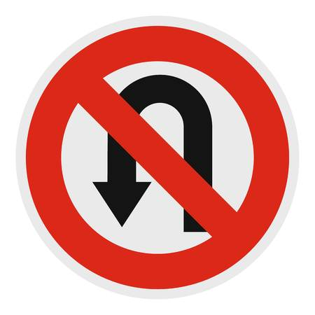 U turn prohibited icon. Flat illustration of u turn prohibited vector icon for web. Иллюстрация