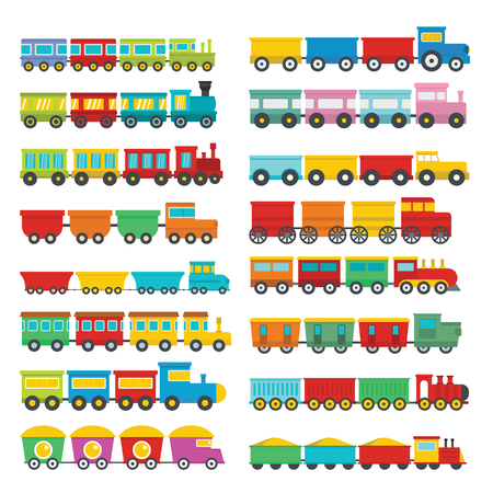 Train toy children icons set. Flat illustration of 16 train toy children vector icons for web