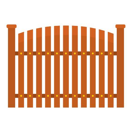 Wooden fence icon. Flat illustration of wooden fence vector icon for web. Illustration