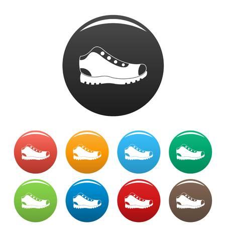 Los iconos de las botas que caminan fijaron en estilo simple muchos círculo de color aislado en el fondo blanco.
