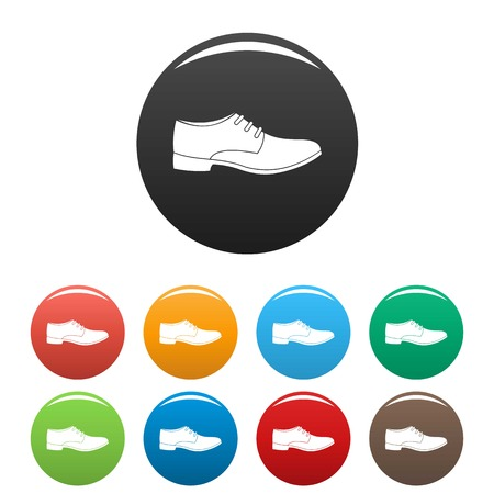 Men shoe icons set in simple style many color circle isolated on white background