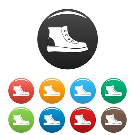 Iconos de botas de senderismo en estilo simple muchos círculo de colores aislado sobre fondo blanco