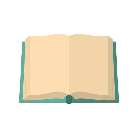 Flat illustration of book deployed vector icon isolated on white background.