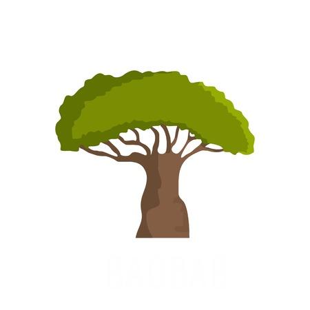 Flat illustration of baobab tree vector icon isolated on white background. Illustration