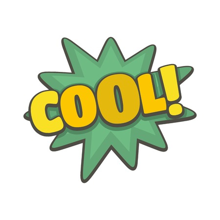 Flat illustration of comic boom cool vector icon isolated on white background.