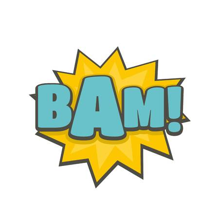 Comic boom bam icon. Flat illustration of comic boom bam vector icon isolated on white background