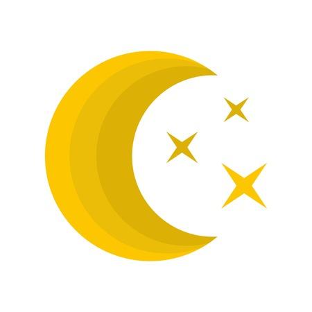 Moon night icon. Flat illustration of moon night vector icon isolated on white background
