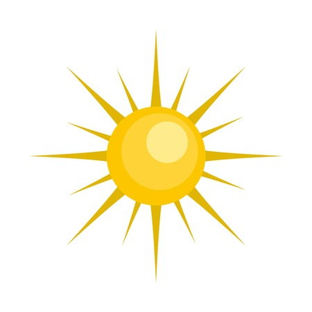 Sun icon. Flat illustration of sun vector icon isolated on white background