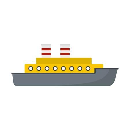Vlakke afbeelding van stoomschip vector pictogram geïsoleerd op een witte achtergrond