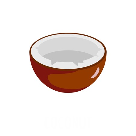 Flat illustration of coconut vector icon isolated on white background.