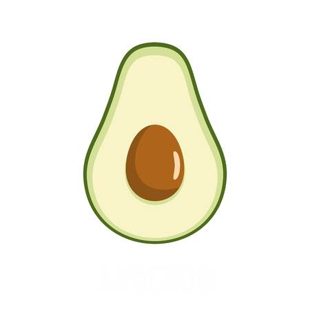 Flat illustration of avocado vector icon isolated on white background.