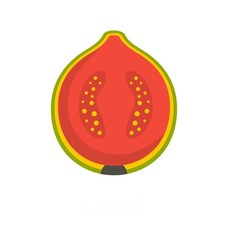 Flat illustration of guava vector icon isolated on white background.