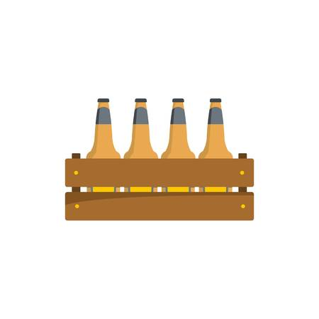 Beer crate icon. Flat illustration of beer crate vector icon isolated on white background.