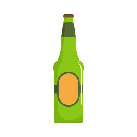 Bottle beer icon. Flat illustration of bottle beer vector icon isolated on white background.