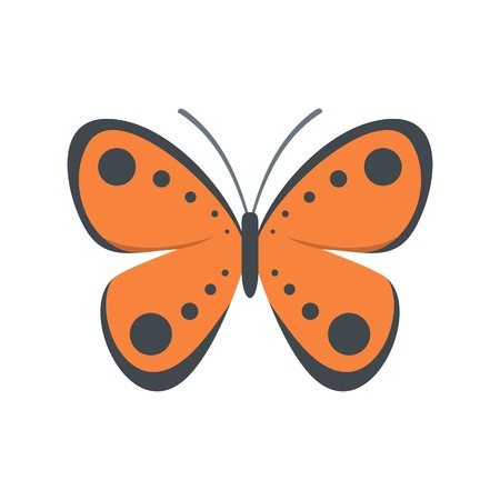Tropical butterfly icon. Flat illustration of tropical butterfly vector icon isolated on white background. Illustration