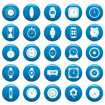 Time and clock icons set blue. Simple illustration of time clock vector icons for web