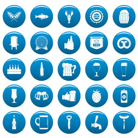 Beer icons set blue. Simple illustration of beer vector icons for web